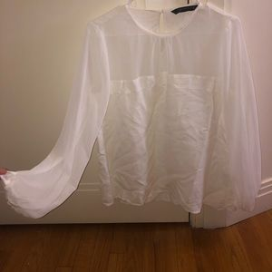 Zara white long sleeve blouse with scrunched cuffs